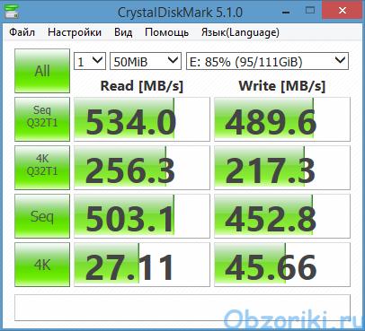 KingDian S400XT CrystalDiskMark 50Mb