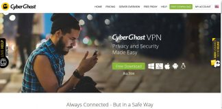 Cyberghost VPN Site main page