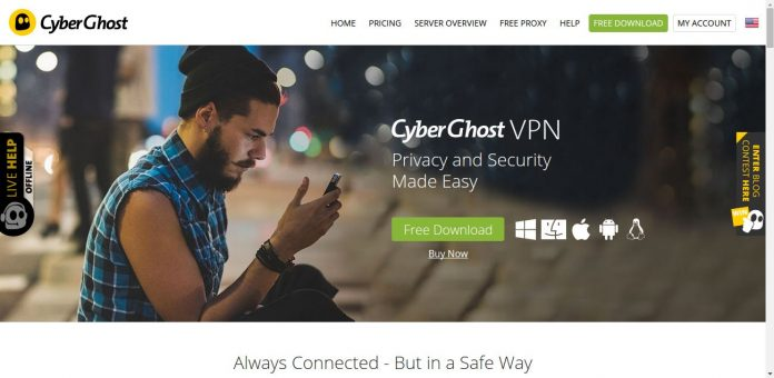 Cyberghost VPN Site main page