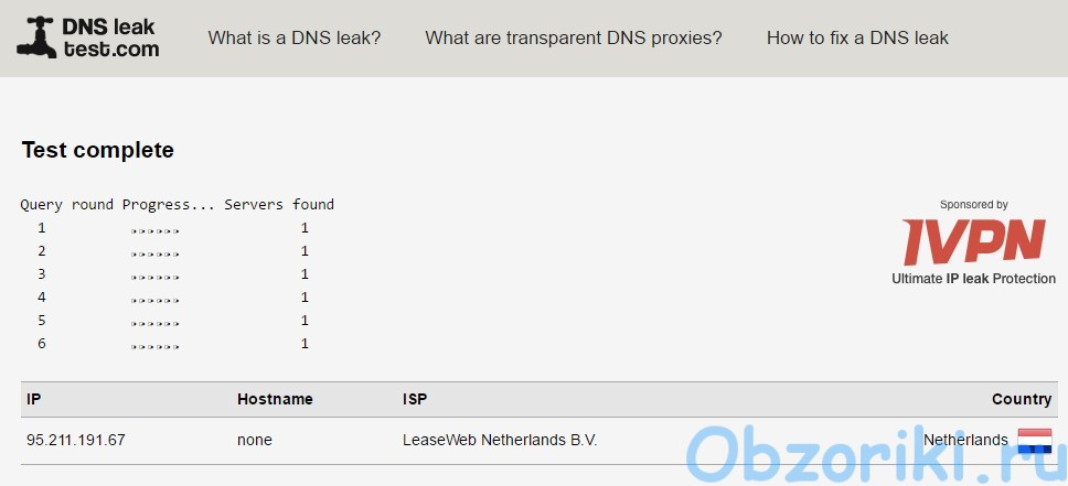 Windscribe VPN DNS Leak Test